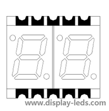 0,28 Zoll zweistelliges 7-Segment-SMD-Display